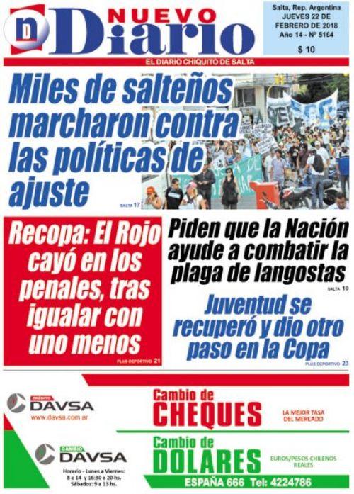 Tapa del 22/02/2018 Nuevo Diario de Salta