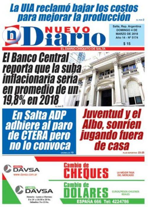 Tapa del 04/03/2018 Nuevo Diario de Salta