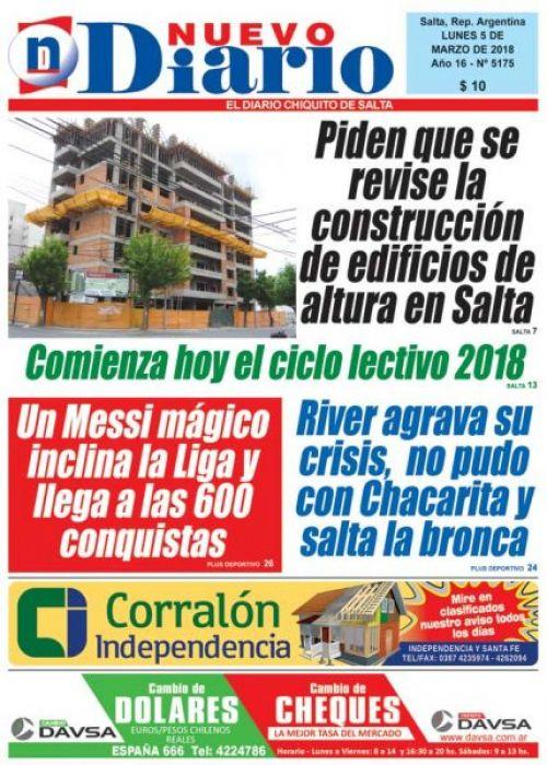 Tapa del 05/03/2018 Nuevo Diario de Salta