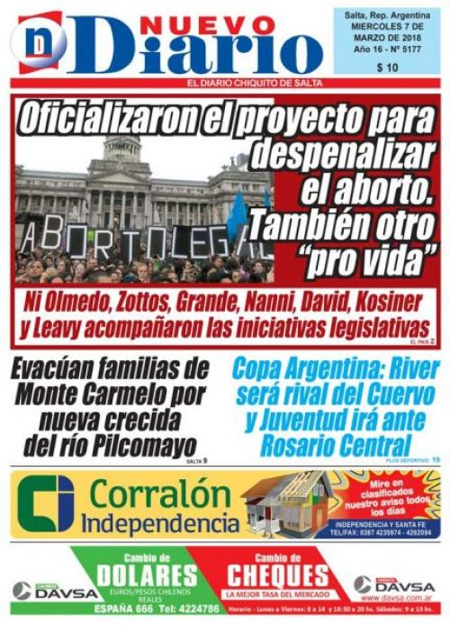 Tapa del 07/03/2018 Nuevo Diario de Salta