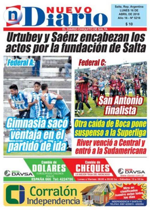 Tapa del 16/04/2018 Nuevo Diario de Salta