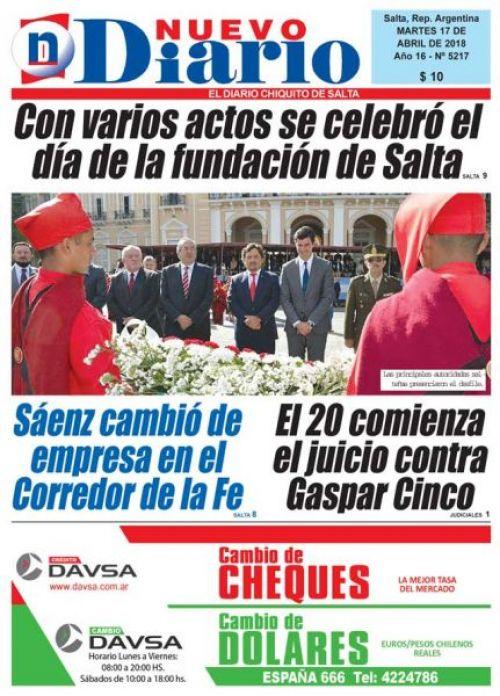 Tapa del 17/04/2018 Nuevo Diario de Salta