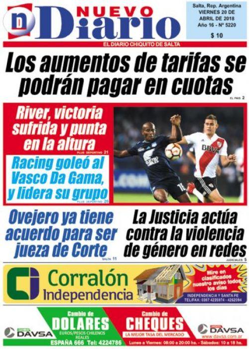 Tapa del 20/04/2018 Nuevo Diario de Salta