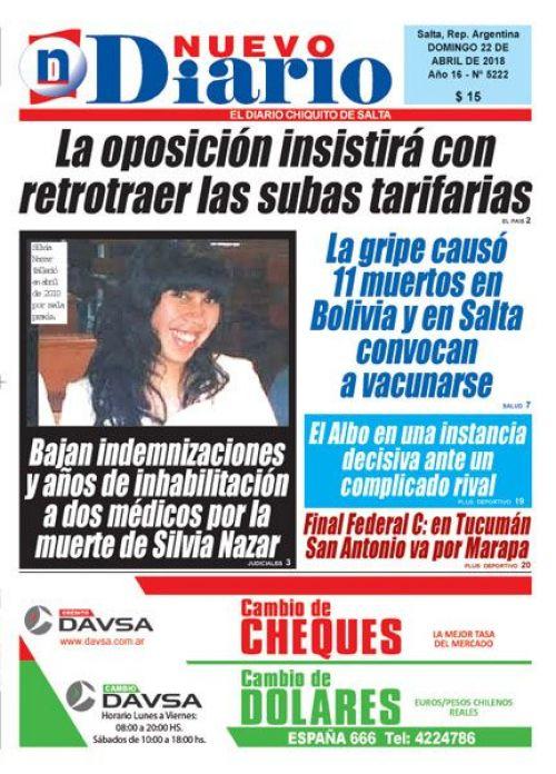 Tapa del 22/04/2018 Nuevo Diario de Salta
