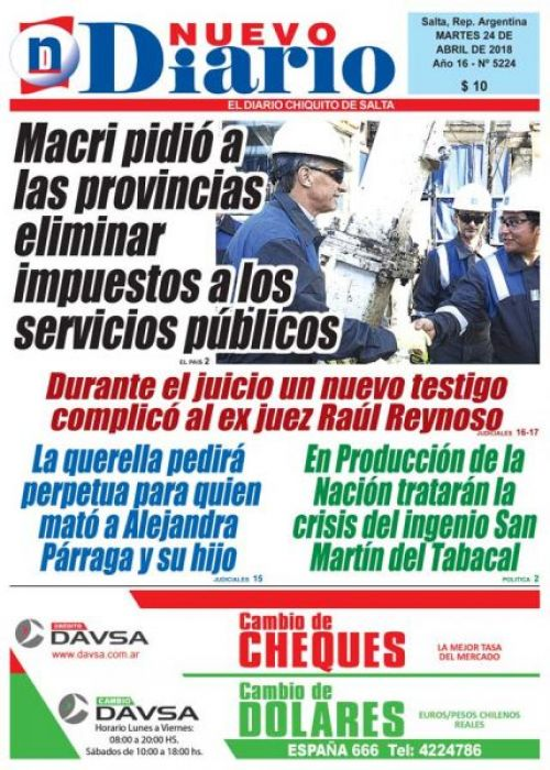 Tapa del 24/04/2018 Nuevo Diario de Salta