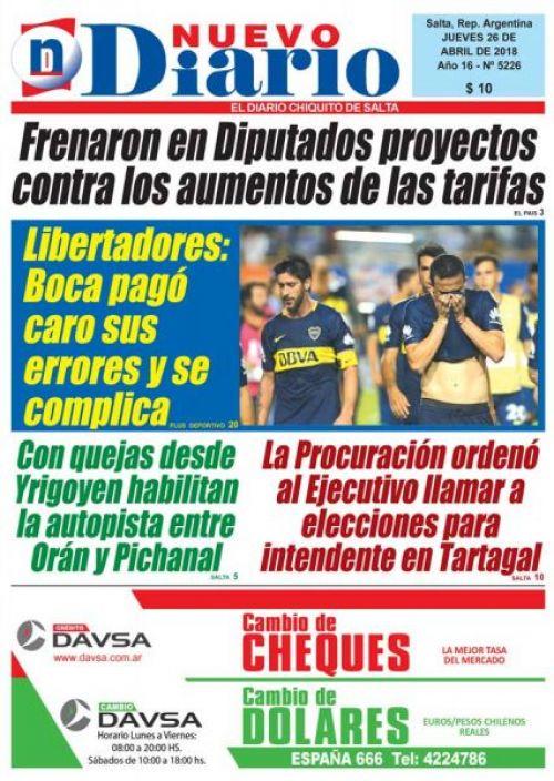 Tapa del 26/04/2018 Nuevo Diario de Salta