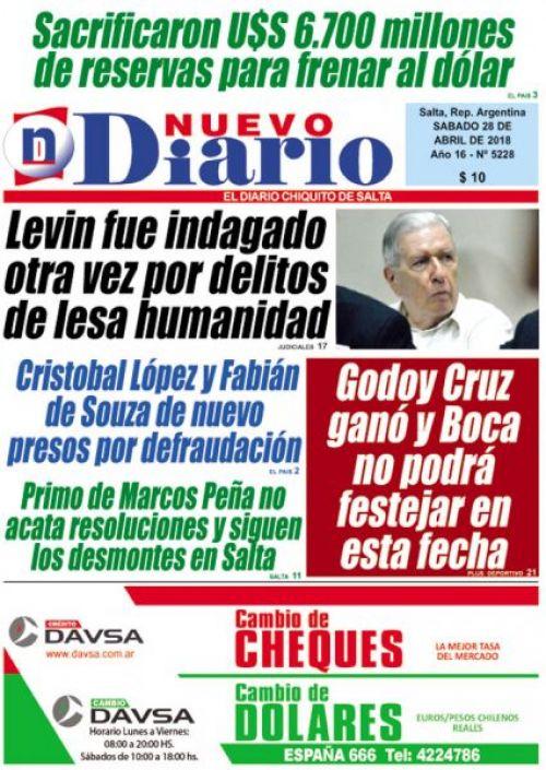 Tapa del 28/04/2018 Nuevo Diario de Salta