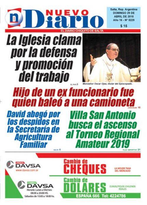 Tapa del 29/04/2018 Nuevo Diario de Salta