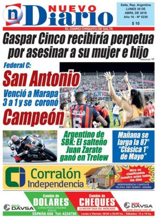 Tapa del 30/04/2018 Nuevo Diario de Salta