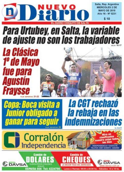 Tapa del 02/05/2018 Nuevo Diario de Salta