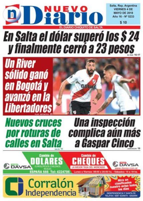 Tapa del 04/05/2018 Nuevo Diario de Salta