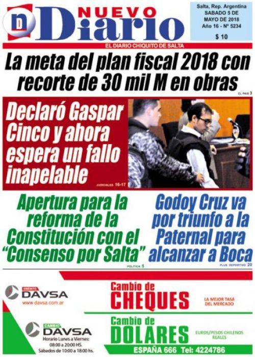 Tapa del 05/05/2018 Nuevo Diario de Salta
