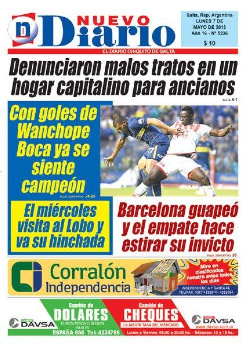 Tapa del 07/05/2018 Nuevo Diario de Salta