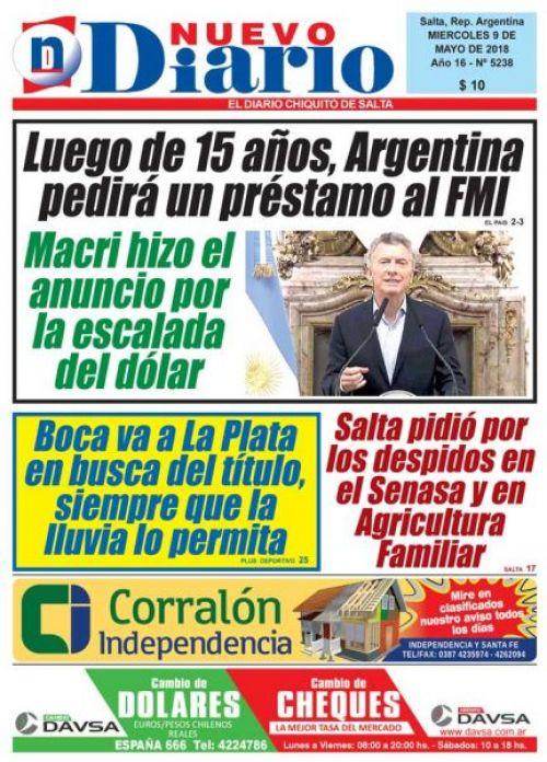 Tapa del 09/05/2018 Nuevo Diario de Salta