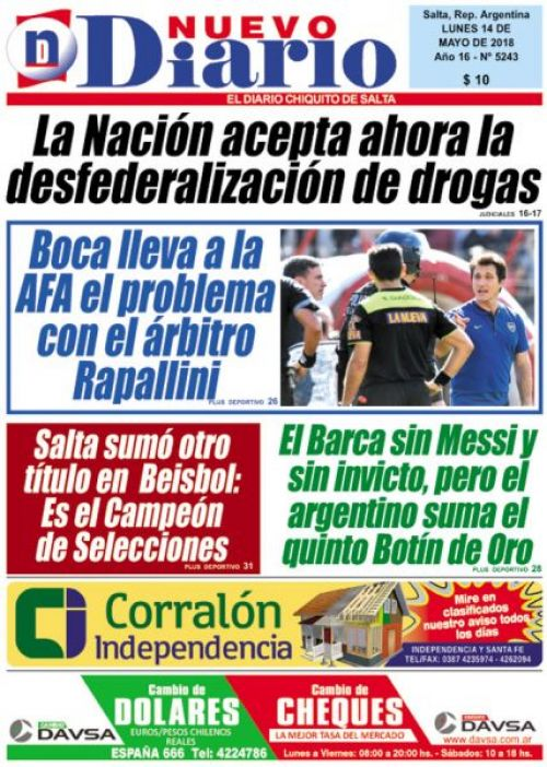 Tapa del 14/05/2018 Nuevo Diario de Salta