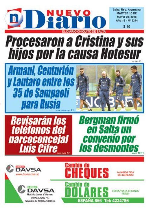 Tapa del 15/05/2018 Nuevo Diario de Salta