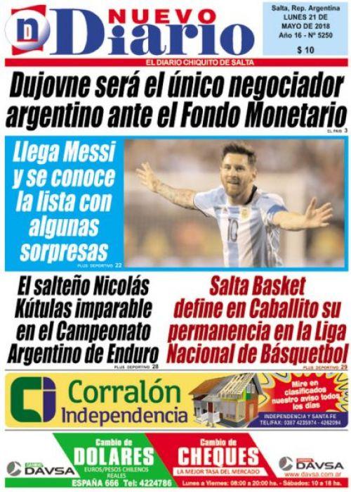 Tapa del 21/05/2018 Nuevo Diario de Salta