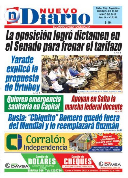 Tapa del 23/05/2018 Nuevo Diario de Salta