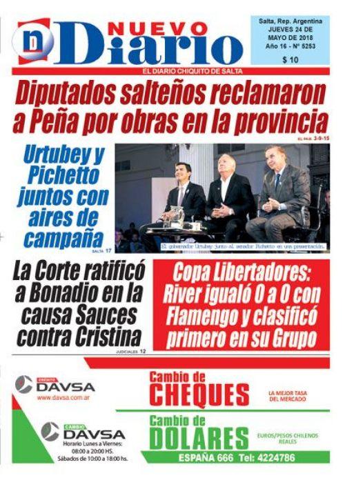 Tapa del 24/05/2018 Nuevo Diario de Salta