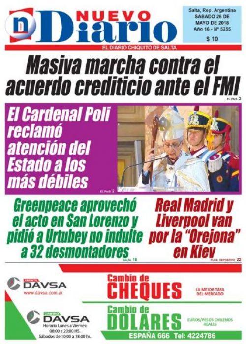 Tapa del 26/05/2018 Nuevo Diario de Salta