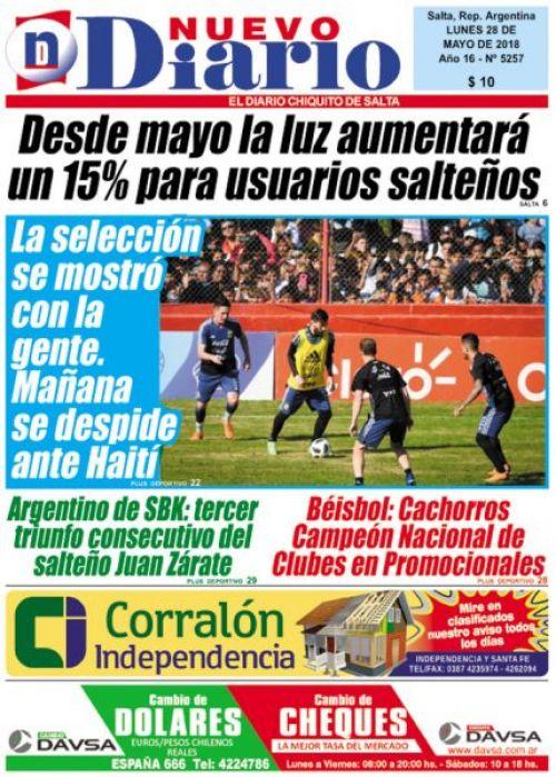 Tapa del 28/05/2018 Nuevo Diario de Salta