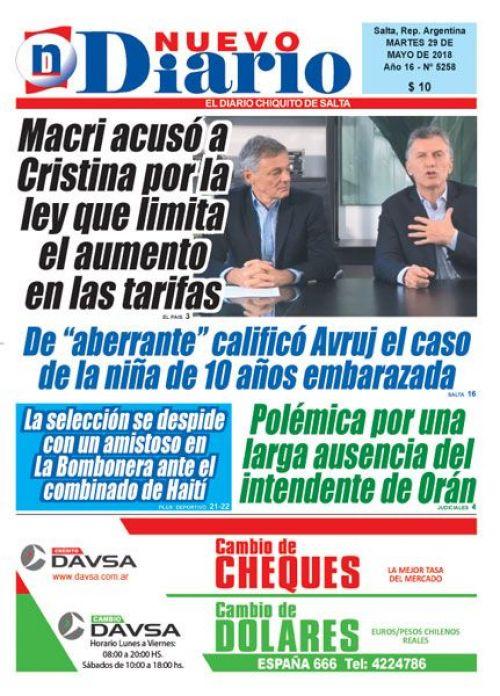 Tapa del 29/05/2018 Nuevo Diario de Salta