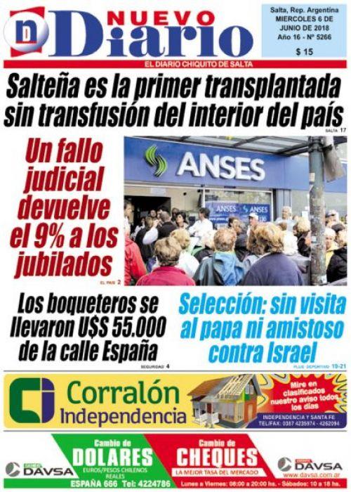 Tapa del 06/06/2018 Nuevo Diario de Salta