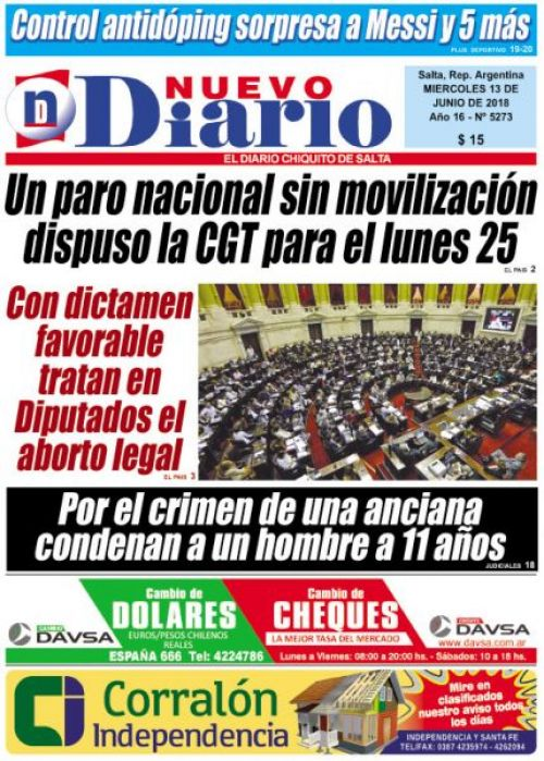Tapa del 13/06/2018 Nuevo Diario de Salta