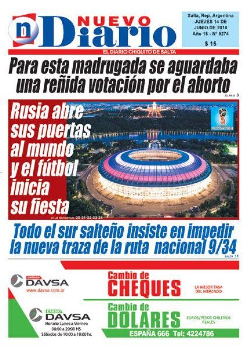 Tapa del 14/06/2018 Nuevo Diario de Salta
