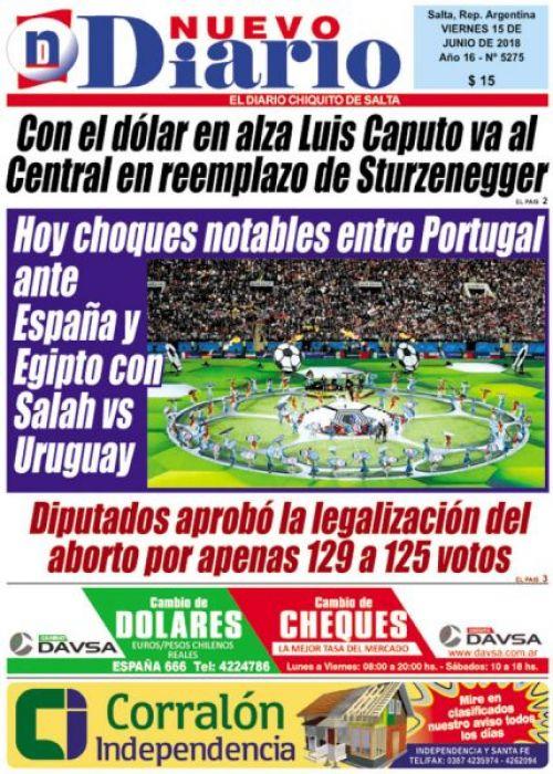Tapa del 15/06/2018 Nuevo Diario de Salta