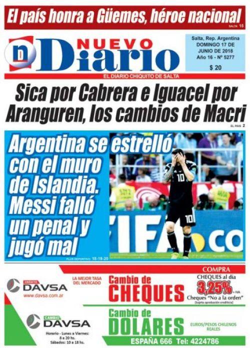 Tapa del 17/06/2018 Nuevo Diario de Salta