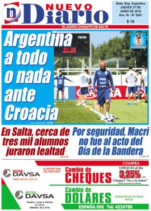 Tapa del 21/06/2018 Nuevo Diario de Salta