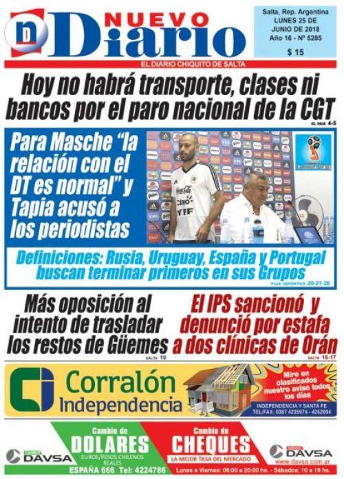 Tapa del 25/06/2018 Nuevo Diario de Salta