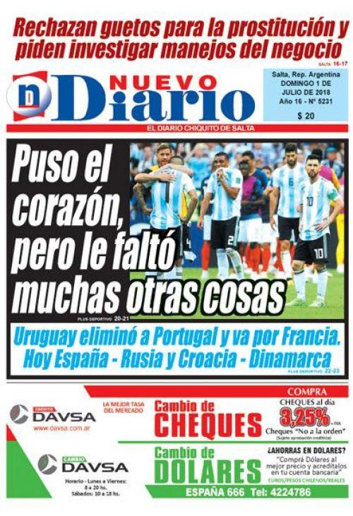 Tapa del 01/07/2018 Nuevo Diario de Salta