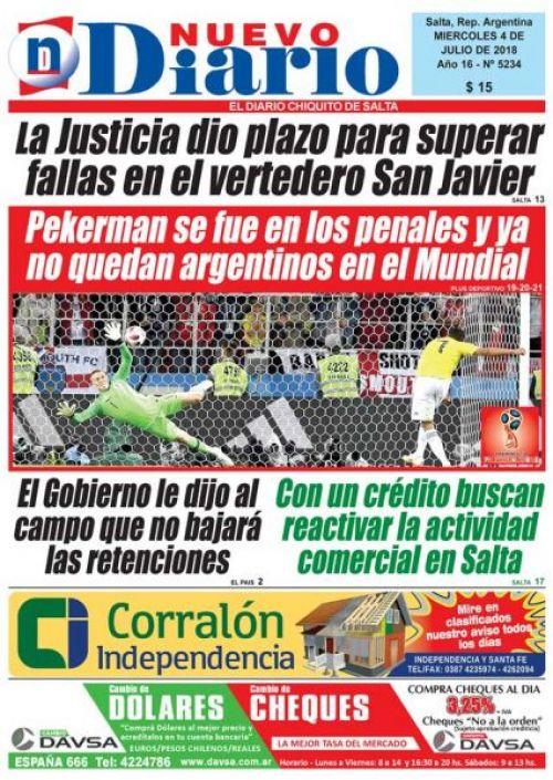 Tapa del 04/07/2018 Nuevo Diario de Salta