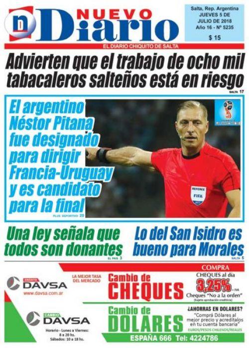 Tapa del 05/07/2018 Nuevo Diario de Salta