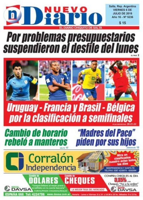 Tapa del 06/07/2018 Nuevo Diario de Salta