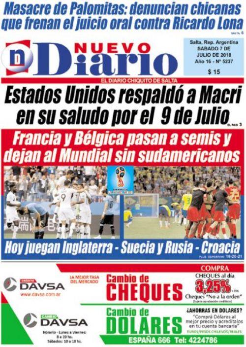 Tapa del 07/07/2018 Nuevo Diario de Salta