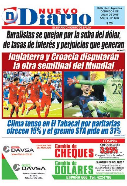 Tapa del 08/07/2018 Nuevo Diario de Salta