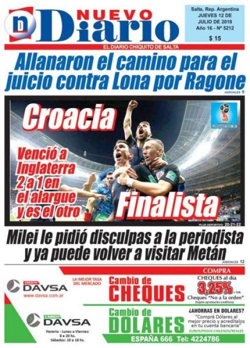 Tapa del 12/07/2018 Nuevo Diario de Salta