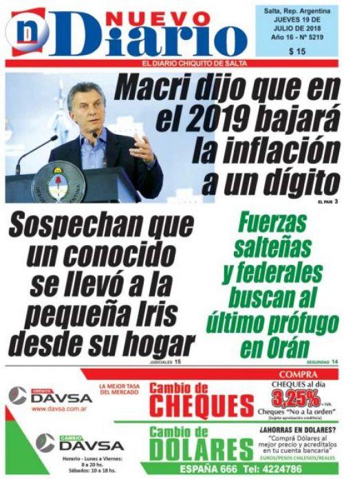 Tapa del 19/07/2018 Nuevo Diario de Salta
