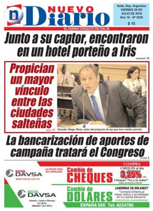 Tapa del 20/07/2018 Nuevo Diario de Salta