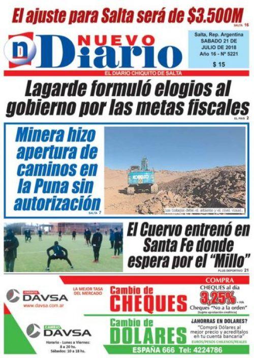 Tapa del 21/07/2018 Nuevo Diario de Salta