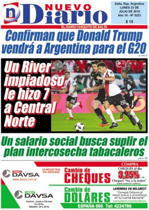 Tapa del 23/07/2018 Nuevo Diario de Salta