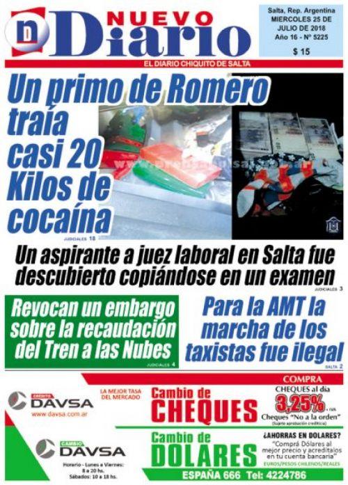 Tapa del 25/07/2018 Nuevo Diario de Salta
