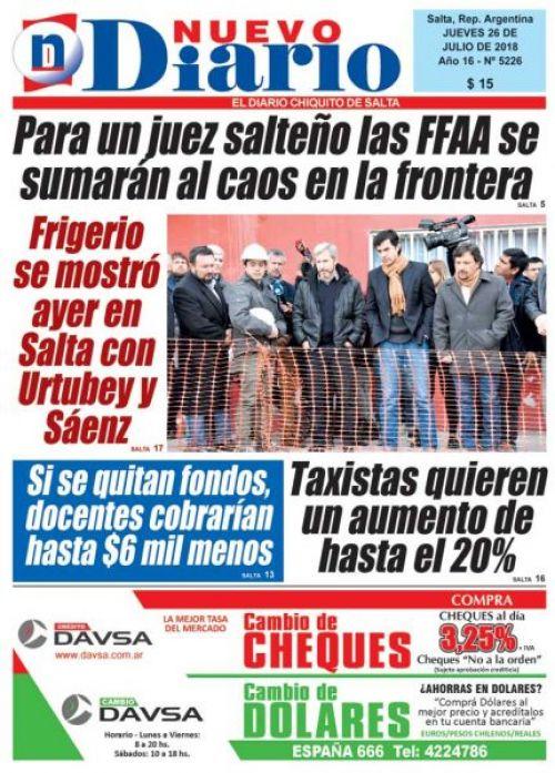 Tapa del 26/07/2018 Nuevo Diario de Salta