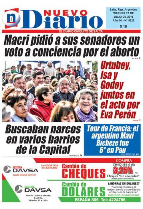 Tapa del 27/07/2018 Nuevo Diario de Salta