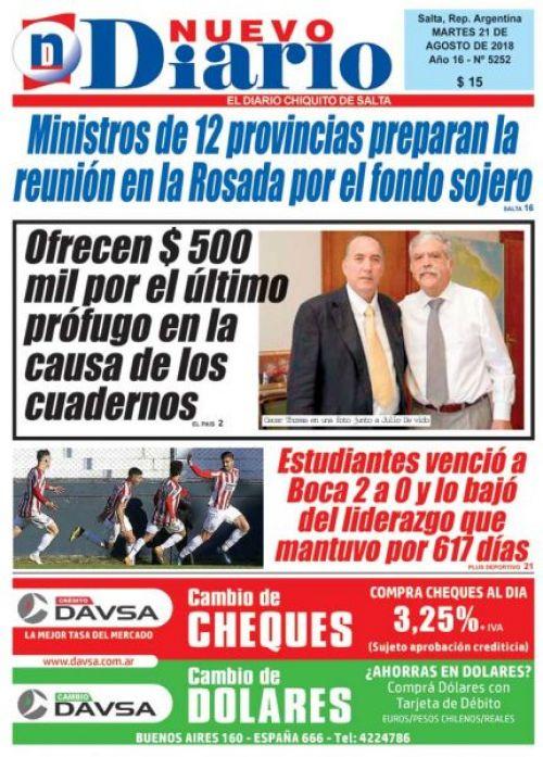 Tapa del 21/08/2018 Nuevo Diario de Salta