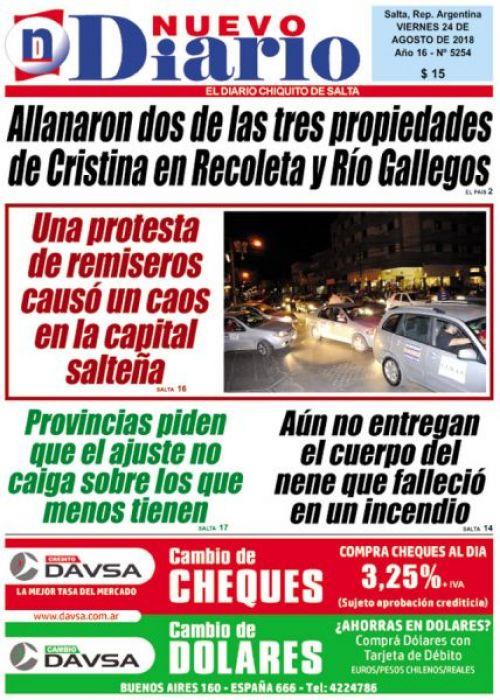 Tapa del 24/08/2018 Nuevo Diario de Salta