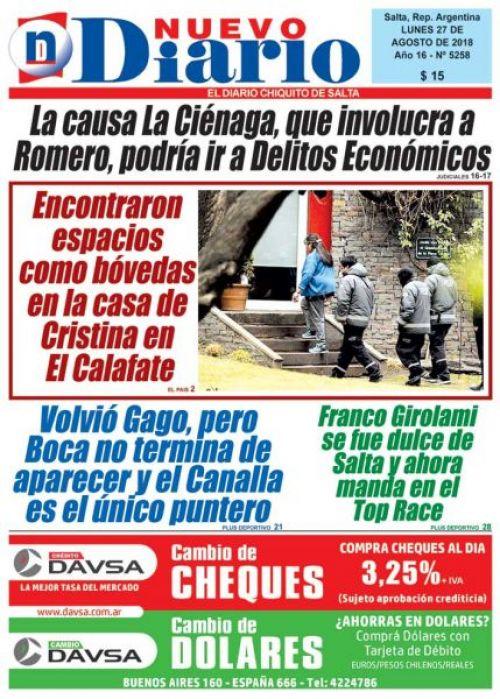 Tapa del 27/08/2018 Nuevo Diario de Salta